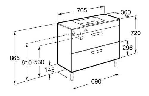 Roca, meubles de salle de bain avec tiroirs, fond réduit - Article8