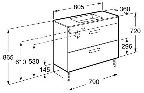Roca, meubles de salle de bain avec tiroirs, fond réduit - Article9