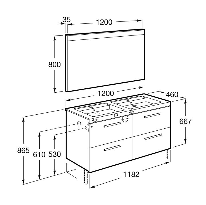 Meuble salle de bain Pack Prisma 4 tiroirs de Roca - Article9