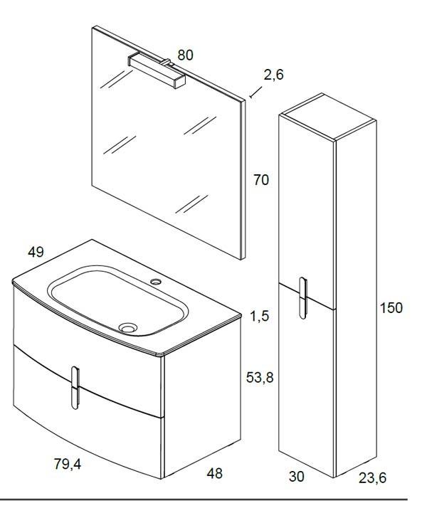 Meuble salle de bain round de bannio for Salle de bain dimension